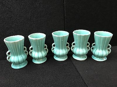 """Vintage 1940's Lot of 5 McCoy USA Pottery Turquoise Vases 6"""" high"""