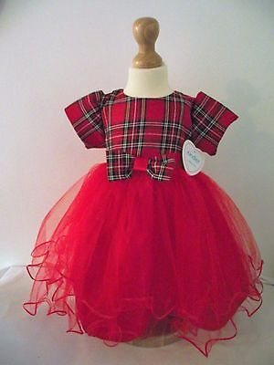 Beautiful Baby Tartan & Tulle Occasion Romany Party Dress by Kinder 12-18 months