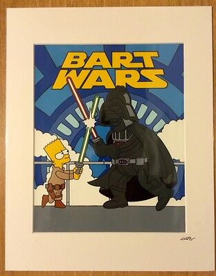 "#24 The Simpsons Bart Wars Hand Painted Cel Mounted 14""x11"" New & Sealed."