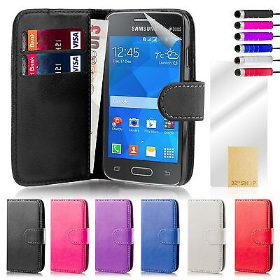 Book Wallet Case Cover Samsung Galaxy Ace Models + Screen Protector & Stylus