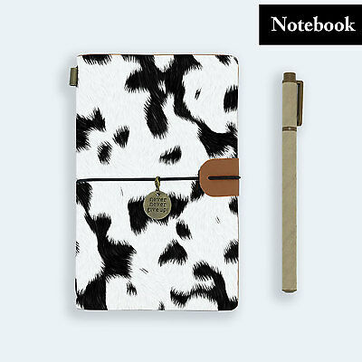 Genuine Leather Journal Travel Diary Travelers Notebook Size Cow Fur Pattern