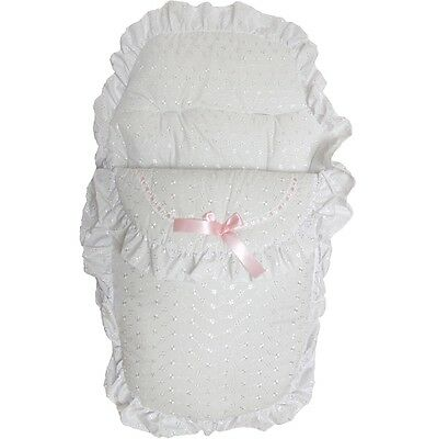 Beautiful Romany Style Pink Ribbon & White Broderie Anglaise Footmuff Cosy Toes