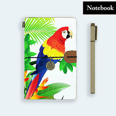 Hand Made Genuine Leather Journal Travel Diary Travelers Notebook Size Parrot