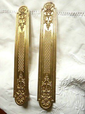 "Antique French Brass Door Pull  Set Plates 12 1/2"" • CAD $75.27"