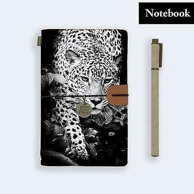 Hand Made Genuine Leather Journal Travel Diary Travelers Notebook Size Leopard