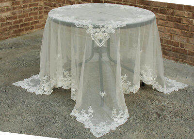 Manor Luxe Flower Lace Embroidered Tablecloth with Beaded Accent