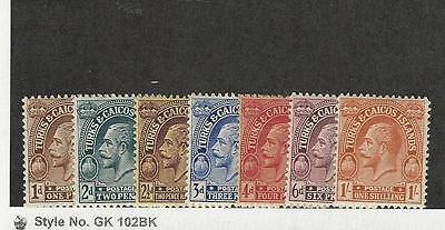 Turks & Caicos, British, Postage Stamp, #46//54 Mint Hinged, 1922-26 7 Different