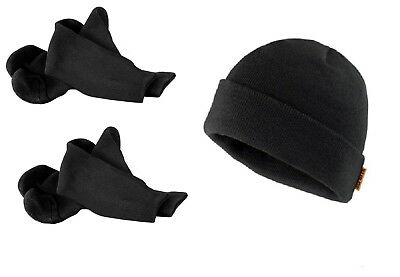 Scruffs 2 Pairs Of Ultimate Thermal Work Socks & Thinsulate Beanie Hat Black
