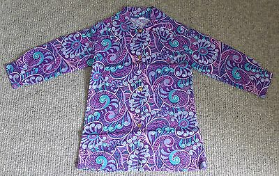 Girl's Vintage 1970s Purple/Teal/Pink Paisley Tunic Top w Beagle Collar 7-8 Yrs