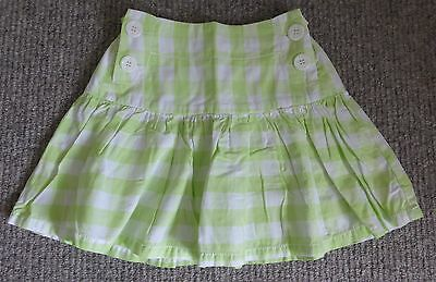 Girl's Next Lime Green & White Checked Cotton Skirt 10 Years - Adjustable Waist