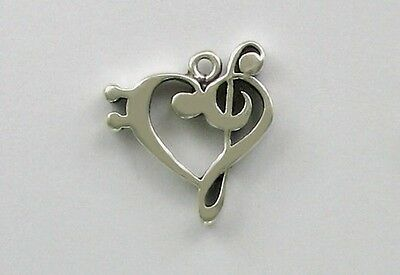 925 Sterling Silver Bass & Treble Clef Heart Charm, Music & Notation Theme