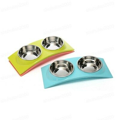 Dog Cat Easy Feeding Double Bowl Puppy Removable Stainless Steel Food Water Dish