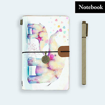 Genuine Leather Journal Travel Diary Travelers Notebook Size Elephant Baby