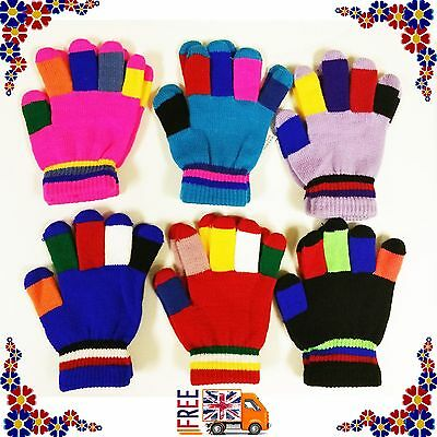 Children Stripe Soft Gloves Girls Boys Kids Stretchy Thermal Knitted Winter Warm