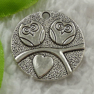 Free Ship 140 pieces tibet silver owl charms 25mm #1573