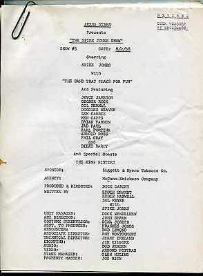 "1958 Original Studio Used TV Script: ""CLUB OASIS"" - ""THE SPIKE JONES SHOW"""