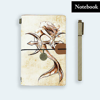 Hand Made Genuine Leather Journal Travel Diary Travelers Notebook Size Mermaid