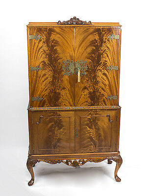 Vintage Flame Mahogany Cocktail Drinks Dry Bar Cabinet C1930