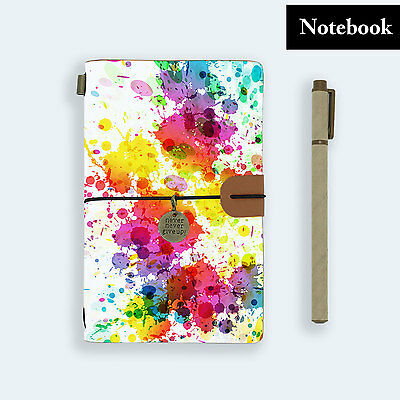 Genuine Leather Journal Travel Diary Travelers Notebook Size Watercolor Splash