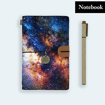 Genuine Leather Journal Travel Diary Travelers Notebook Size Universe Galaxy