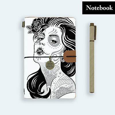 Genuine Leather Journal Travel Diary Travelers Notebook Size Sugar Skull