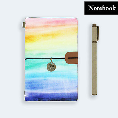 Hand Made Genuine Leather Journal Travel Diary Travelers Notebook Size Rainbow