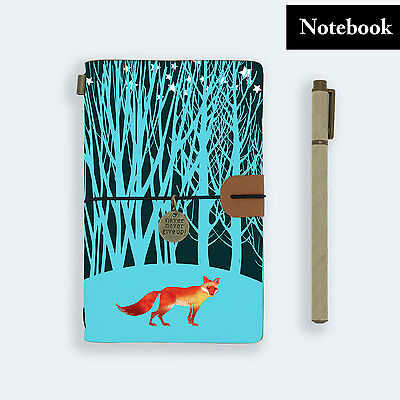 Genuine Leather Journal Travel Diary Travelers Notebook Size Watercolor Fox