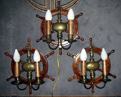 3 Vtg Nautical Maritime Ship Wood Bronze Glass Shade Sconces Chandelier Fixture