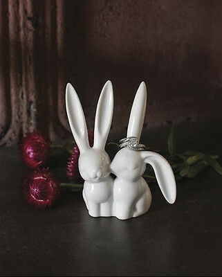 White Ceramic Kissing Love Bunny Rabbits Ring Holder