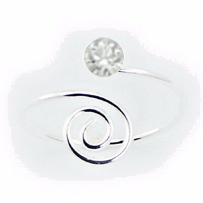 Spiraled End Toe Ring Swarovski Crystal Sterling Silver 925 Jewelry Clear