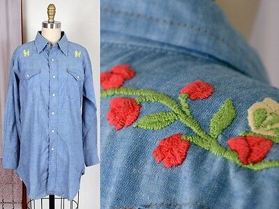 vtg 70s  rockabilly rose western embroidered butterfly denim pearl snap blouse M