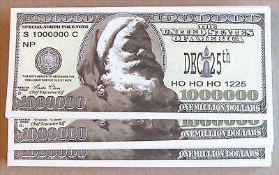 Lot Of 50 Santa Money Million Dollar Bill Wholesale Lot Santa  Free Shipping
