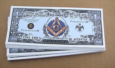 50 Free Mason MONEY FAKE  WHOLESALE LOT USA MILLION DOLLAR BILLS  FREE SHIPPING