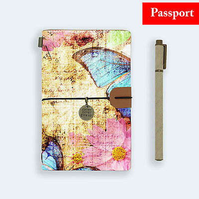 Genuine Leather Journal Travel Diary Travelers Passport Size Retro Butterfly