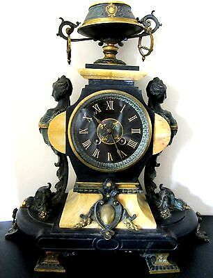 Antique Figural French Empire Louis XV Style Gilded Bronze & Marble Mantle Clock