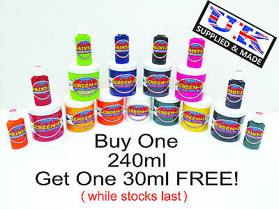 Silk Screen Printing Ink & Fabric Paint 11 Colours Available