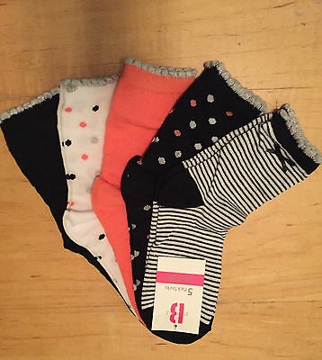 Girls kids childrens toddlers 5 pack bows stripes spots hearts ankle socks