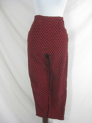 50s 60s Truly Regal Womens Vintage Red Black High Waisted Cigarette Capri Pants
