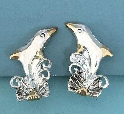 Lovely Vintage Dolphin Clip On Earrings In Silver & Gold Tone Metal