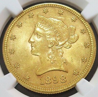 1898 Gold Us $10 Dollar Liberty Head Eagle Coin Ngc Mint State 63