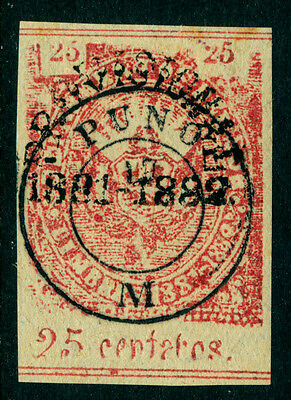 """PERU 1882 PROVISIONAL ISSUES Pacific War - """"PUNO"""" ovpt. 25c red Sc#15N3 mint MLH"""