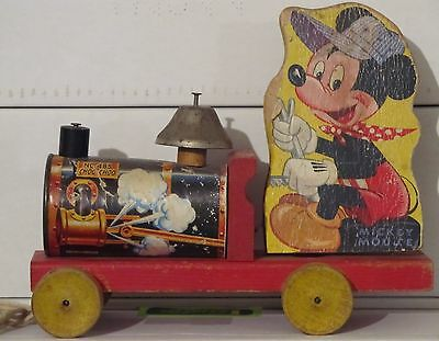 Vintage Fisher Price Mickey Mouse Choo-Choo Train No.485 Pull Toy