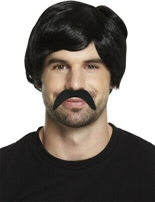 Pablo Escobar Style Black Wig & Free Moustache Short Mens 70's Gangster