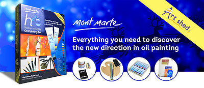 Mont Marte Water Mixable H2O Oil Painting Set - 27 Pieces + Easel & Canvas