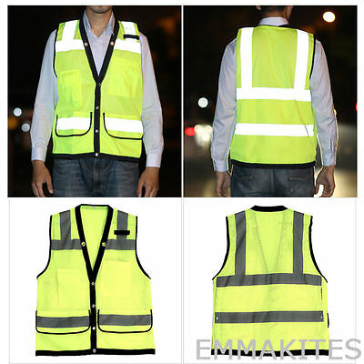 360° Visibility Waterproof Hi-Vis Safety Vest Reflective Jacket with Pockets