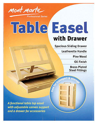 Mont Marte Table Easel With Drawer - Pine Wood - Artist Easel