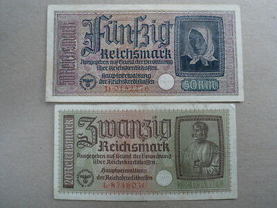 1941-45 Nazi German Occupied Territories 20+50 Reichsmark Bank Note-VG-16-238