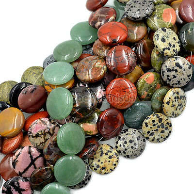 20mm Natural Gemstones Coin Round Beads For Jewelry Design 10pcs