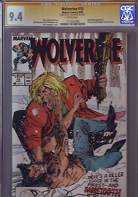 WOLVERINE #10 CGC SS 9.4 WP 1ST SABRETOOTH Fight Signed Bill Sienkewicz AUTO