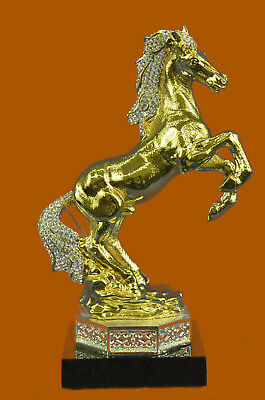 24K Gold Silver Plated Wild Horse With Statue Figurine Bronze Sculpture Figure